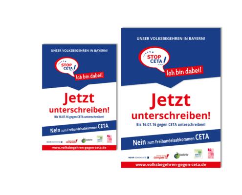 Plakate: Volksbegehren in Bayern gegen CETA